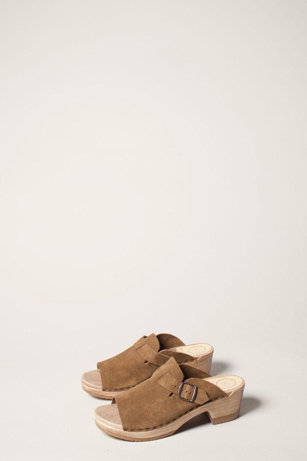 d1ec024821b No.6 Sadie Clog on Mid Heel in Bark Suede