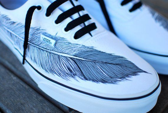 f9ab0cf3f729 Hand Painted Native Eagle Feather on White Vans Era shoes in 2019 ...