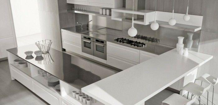 eine moderne designerische Küche mit U Form, Frühstücksbar mit - küche in u form