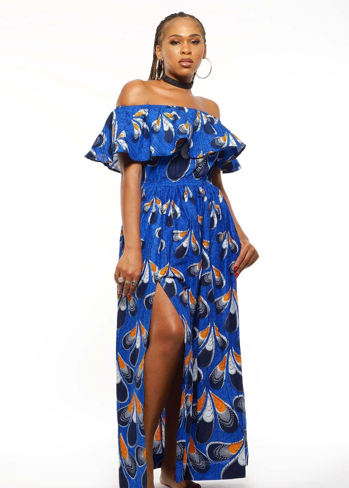 Abiola african print off the shoulder ruffle maxi dress blueorange