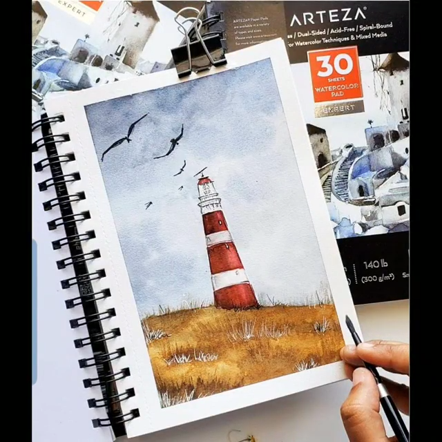Step-By-Step Lighthouse with Watercolors Watch as this transforms into an unbelievable coastal scen
