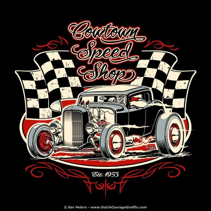 """""""Cowtown Speed Shop"""" Three Color T-shirt Version #hot #rod"""