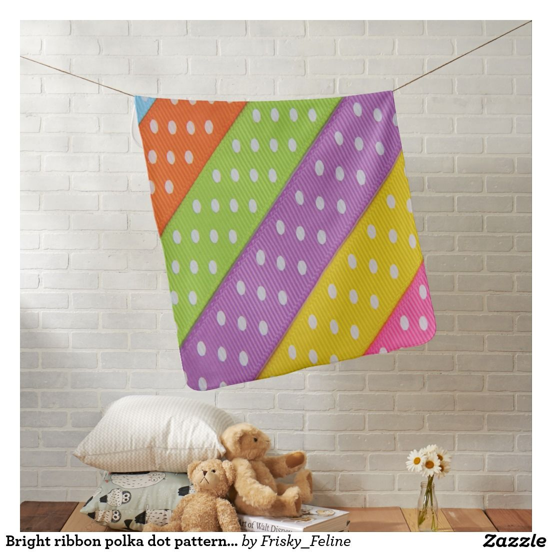 Bright ribbon polka dot pattern baby blanket pillows blankets