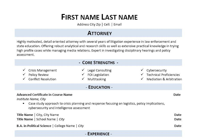 Click Here to Download this Attorney Resume Template!   www