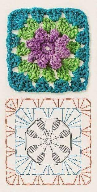 бабушкин квадрат с цветком вязание лоскутное вязание вязание