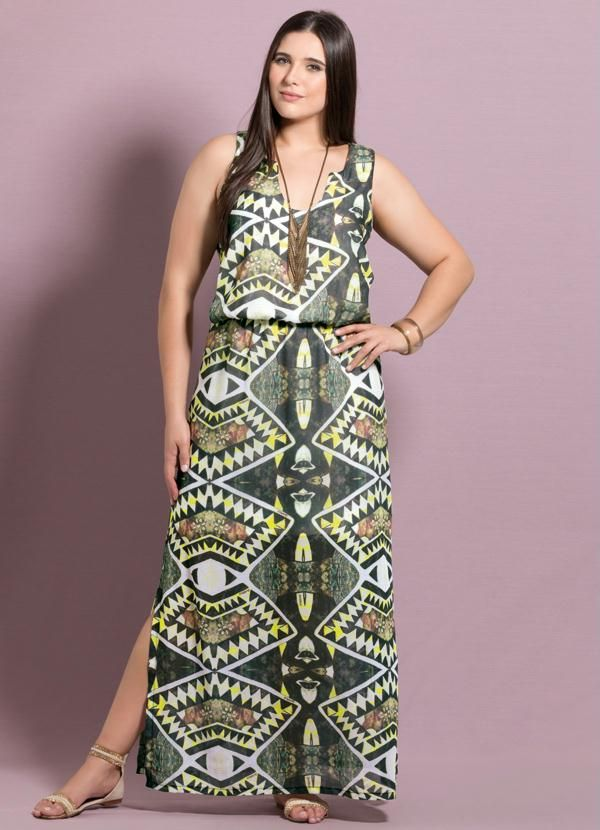 fe89dd75e Vestido Longo de Fendas Tribal Plus Size - Quintess | costura ...
