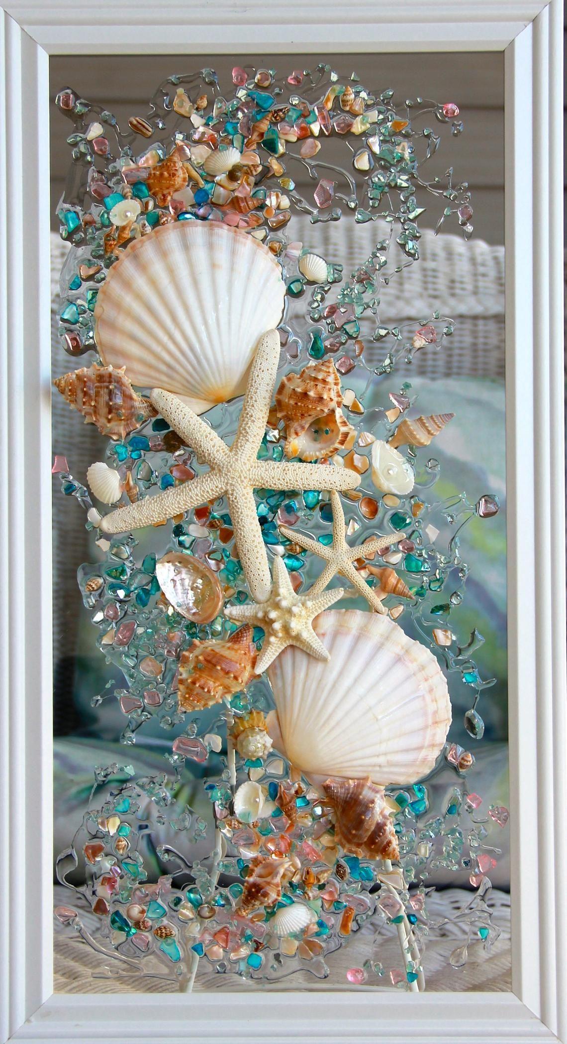 Sea Glass Art For Beach Decor Seashell Wall Art For Nautical