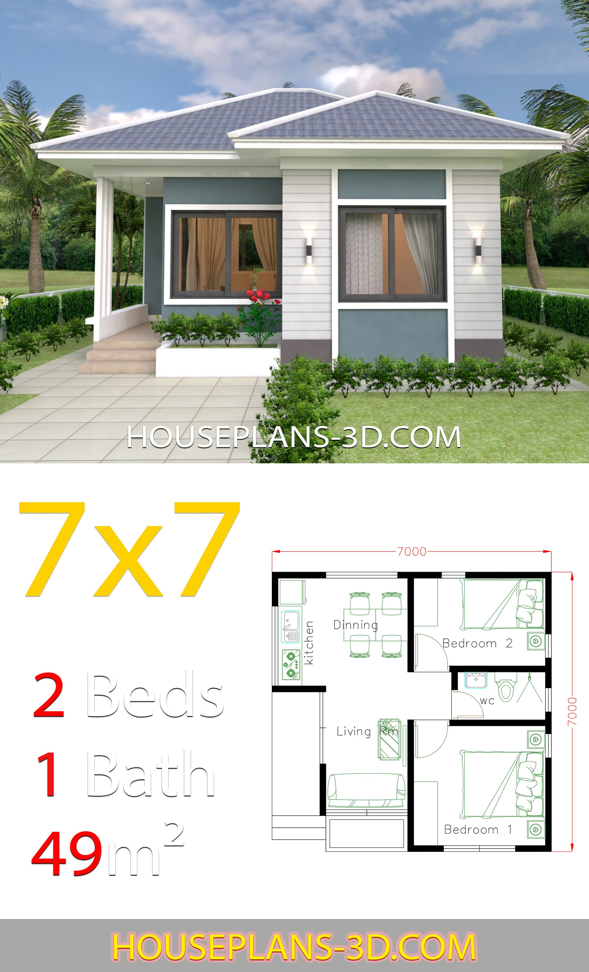 House Design 7x7 With 2 Bedrooms Full Plans House Plans 3d Small House Design Plans Small House Layout House Design Pictures