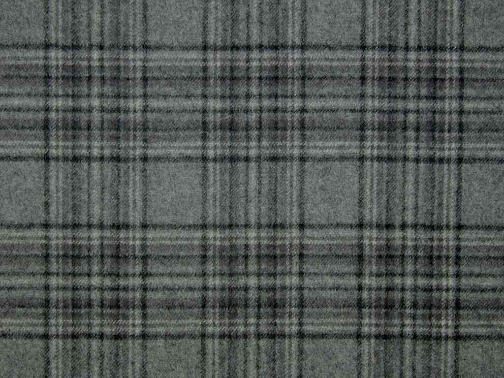 Stirling Wool Tartan Check Grey Black Curtain & Upholstery Fabric ...