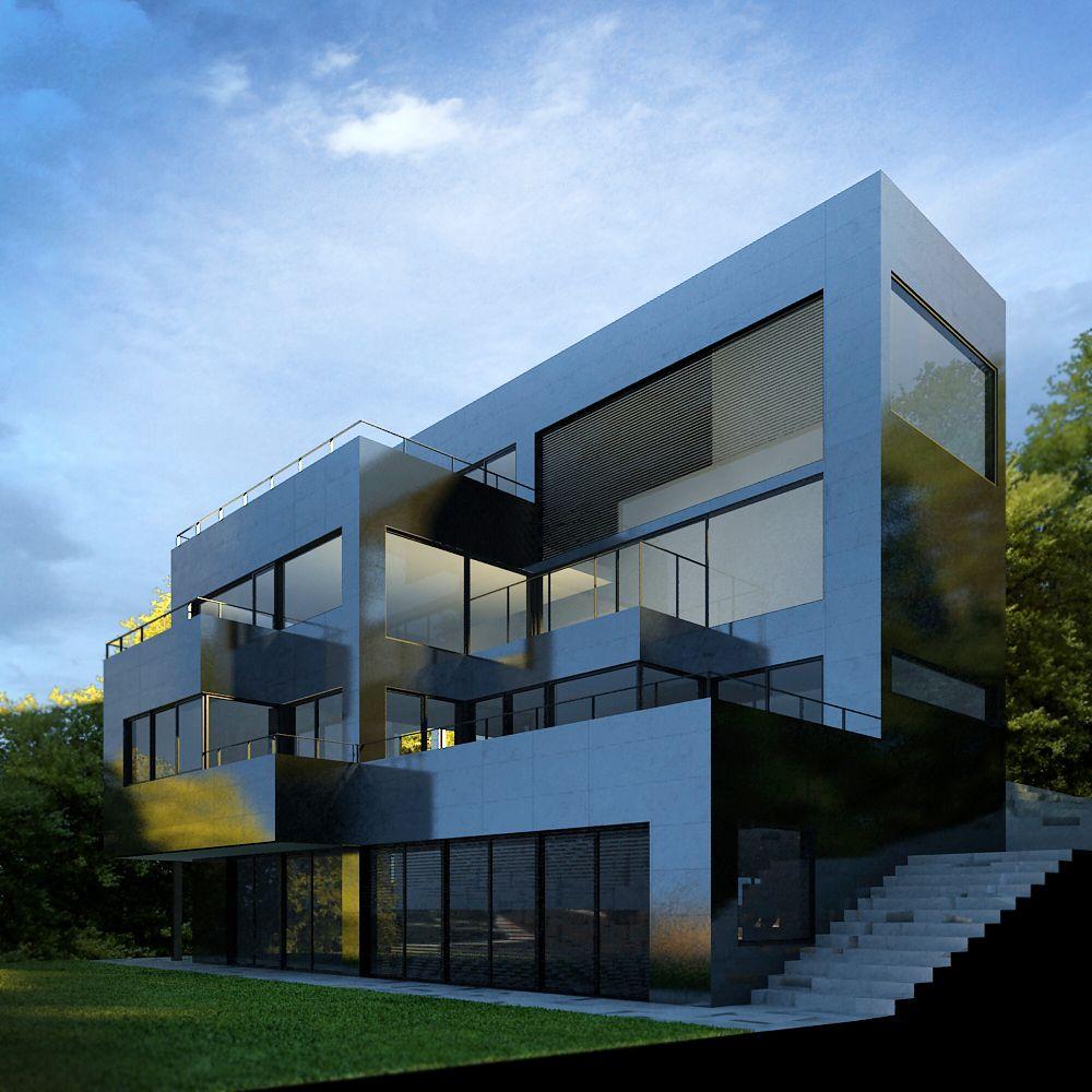 Edificios moderno balcon exterior jard n escalera - Fachadas viviendas unifamiliares ...