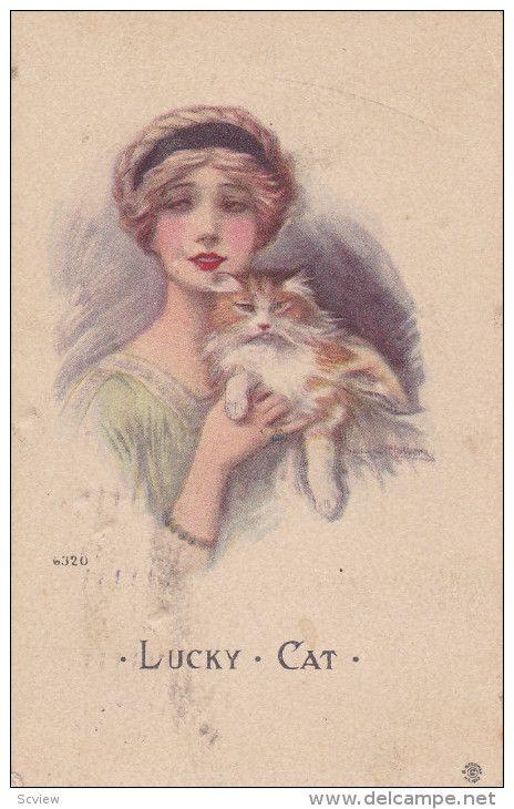 Art Deco: Woman & cat Portrait , PU-1914 Item number: 288420951  - Delcampe.com