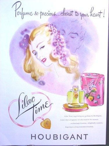 1948 HOUBIGANT Flora Lilac Time PERFUME Heart Locket Bellamy Romantic art AD