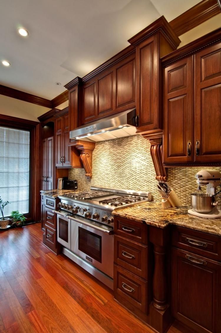 excellent kitchen countertops | Excellent Cherry Wood Cabinets Kitchen | Dream Home's ...