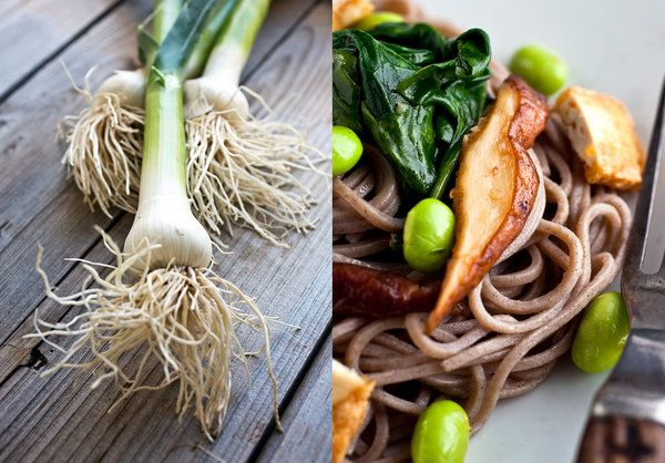 Soba With Green Garlic, Spinach, Edamame and Crispy Tofu