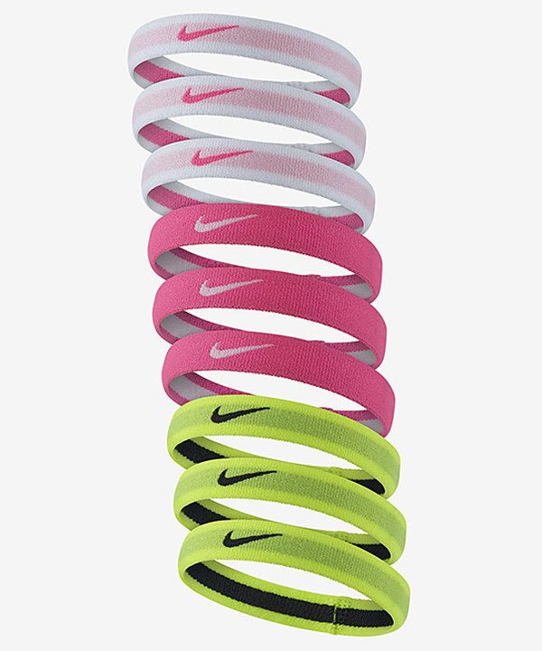 Look at this Nike White & Vivid Pink Swoosh Hair Tie - Set of Nine on #zulily today!
