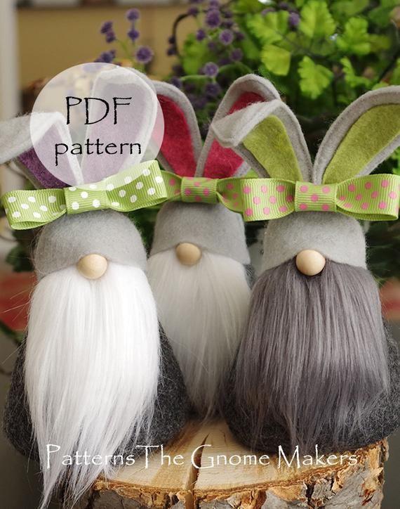 BUNNY Gnome Pattern, Bunny Patterns, diy Bunny, pd