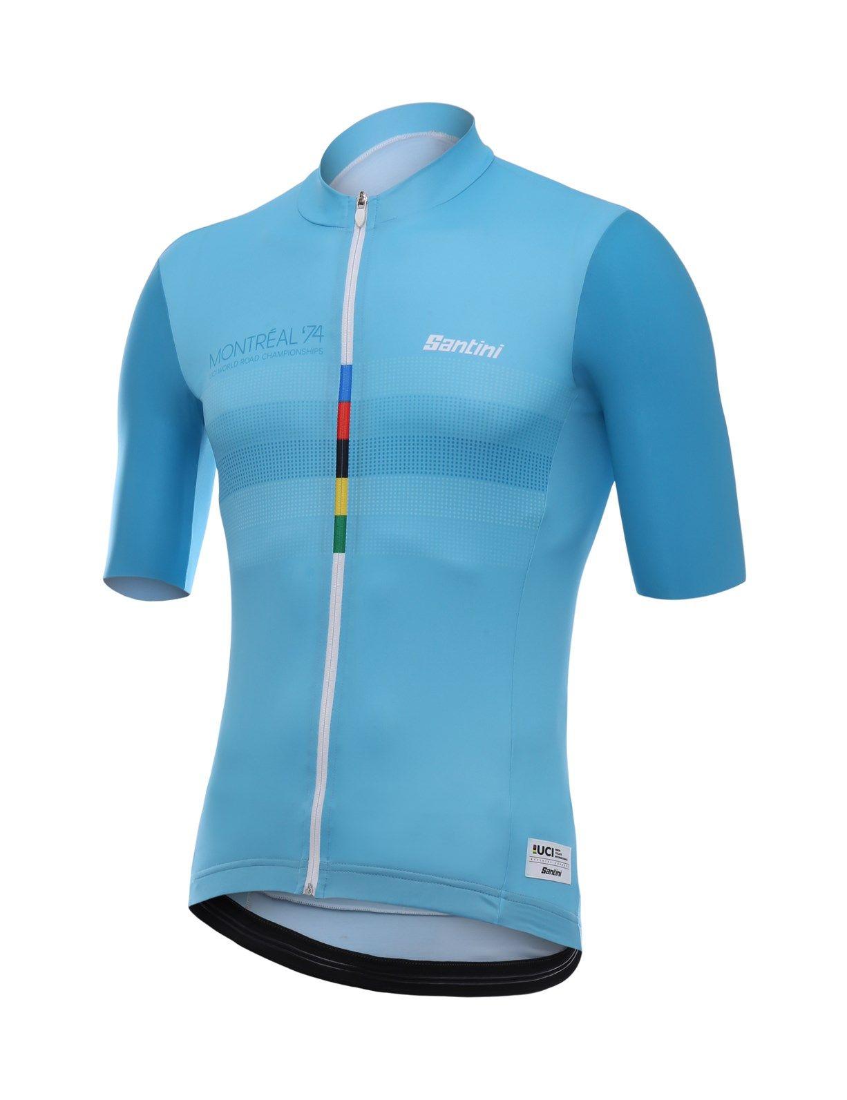 Santini UCI Grandi Campioni 1974 Eddy Merckx Short Sleeve Jersey Blue 5bcf255e9