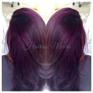 Lovely Deep Red Violet Hair Color