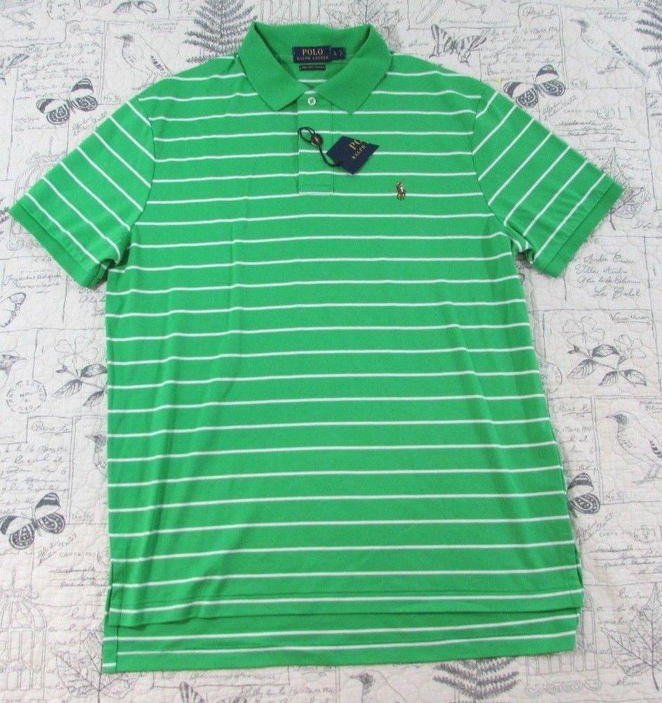 Polo Ralph Lauren Pima Soft Touch Green White Stripe Men Pony Logo