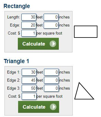 Calculators To Estimate The Square Footage Of A Property It Can Work With Shape Rectangle Triangle Trapezoid Or Circle Along Hundreds