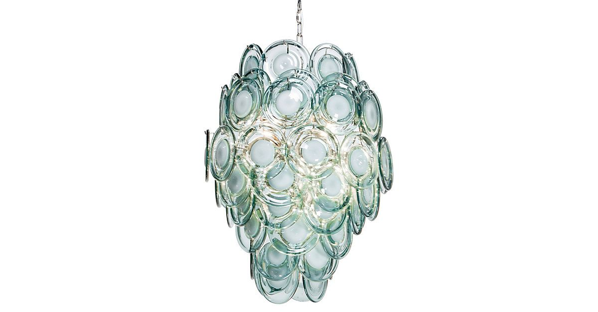 Overlapping discs of aqua-tinged glass form an appealingly organic shape to diffuse and radiate the central light. Hardwired.