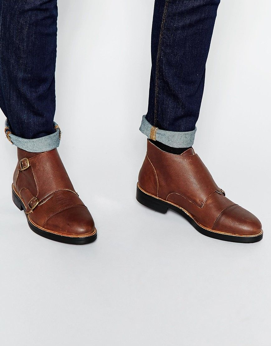 Buy Men Shoes / Asos Double Monk Strap Boots From Brown Leather