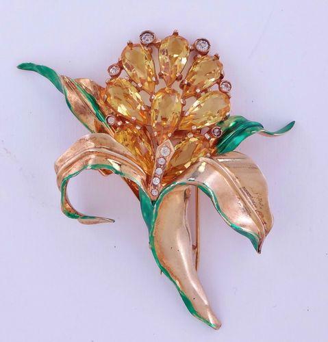 Vintage Eisenberg Sterling Rhinestones Enamel Large Floral Pin Clip Brooch | eBay