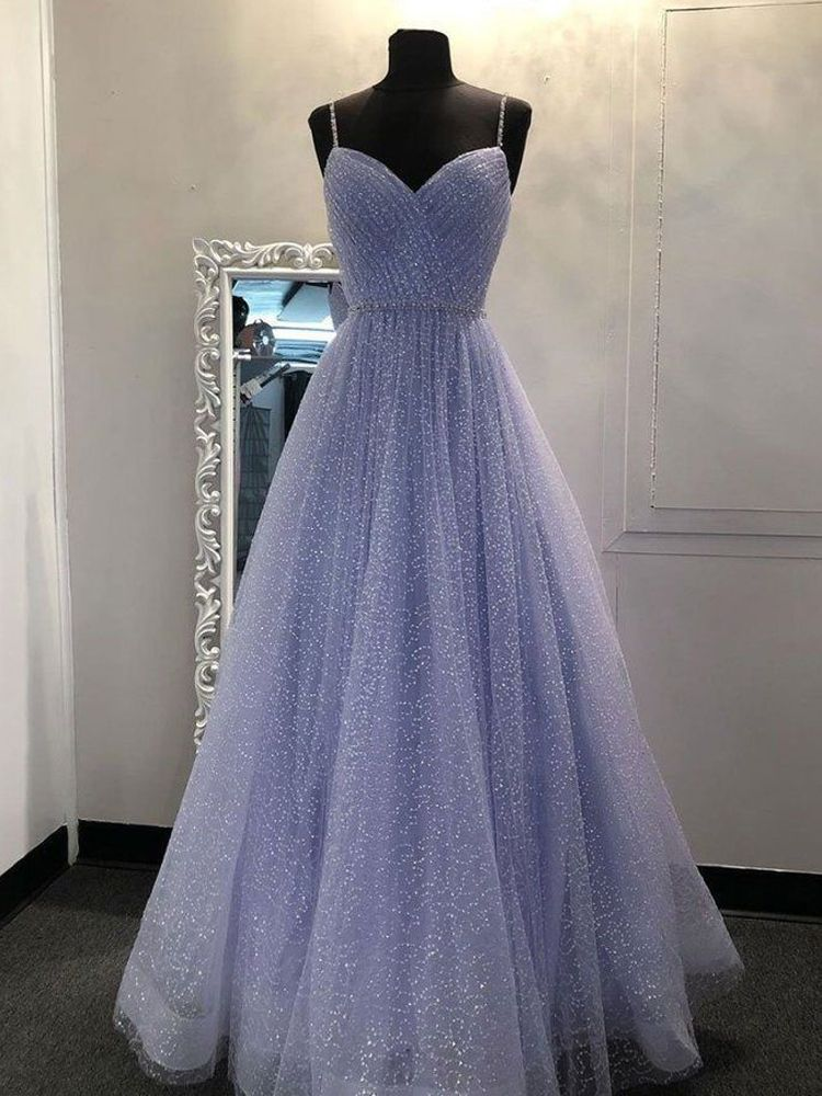 Photo of Glitter Ball Gown Sweetheart Spaghetti Straps Gray Tulle Long Prom Dresses, Birthday Dresses, …