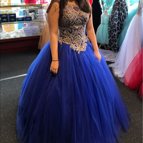 723890f970e1 Free 1-3 day shipping for a limited time. Description  Royal Blue with Gold  accent corset bodice dress. Beautiful and stunning.. Sold by gfleon.
