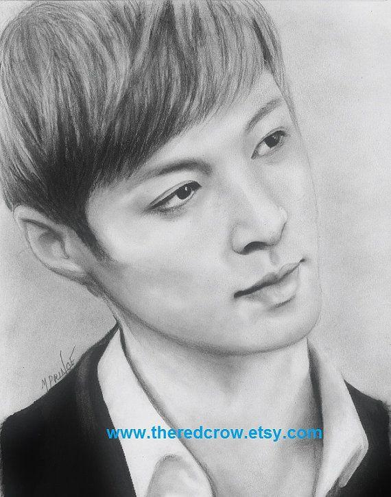 exo lay kpop art portrait original charcoal pencil drawing painting illustration