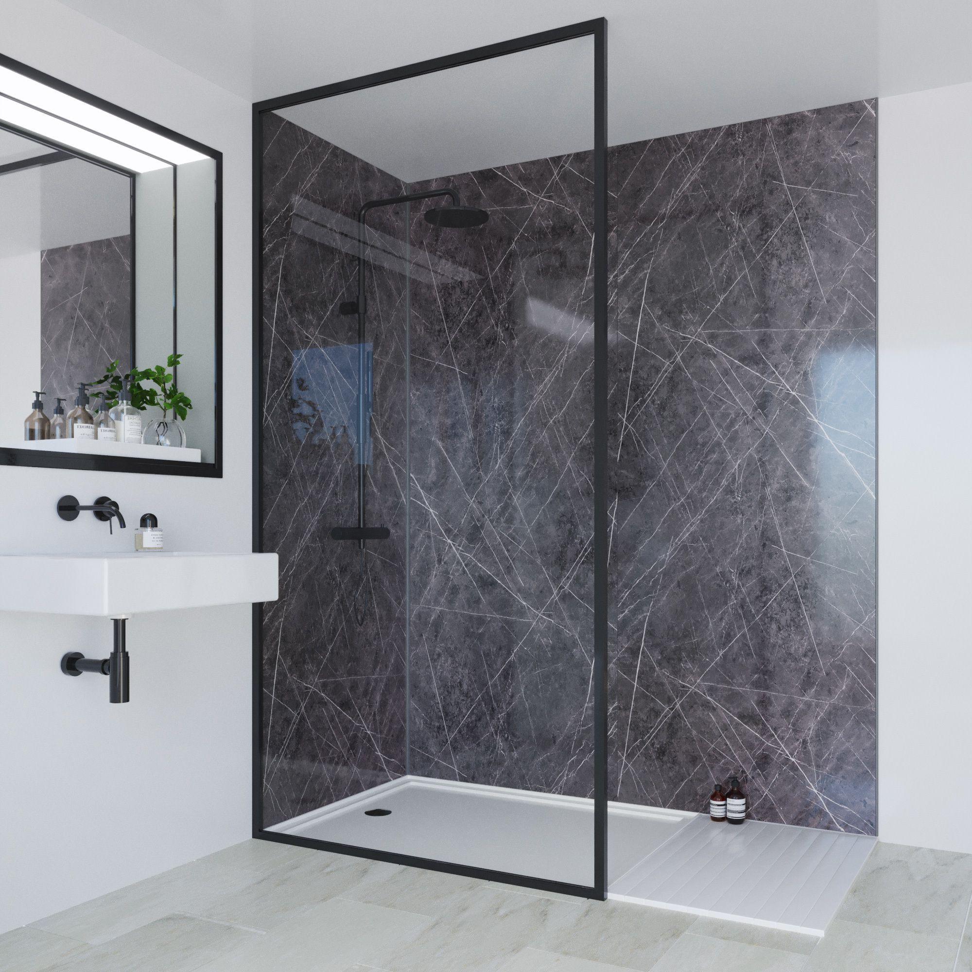 Multipanel Linda Barker Ferro Grafite 1200mm 900mm Sides Solution For Corner Installations 2 Walls Bathroom Wall Panels Unique Bathroom Bathroom Wall