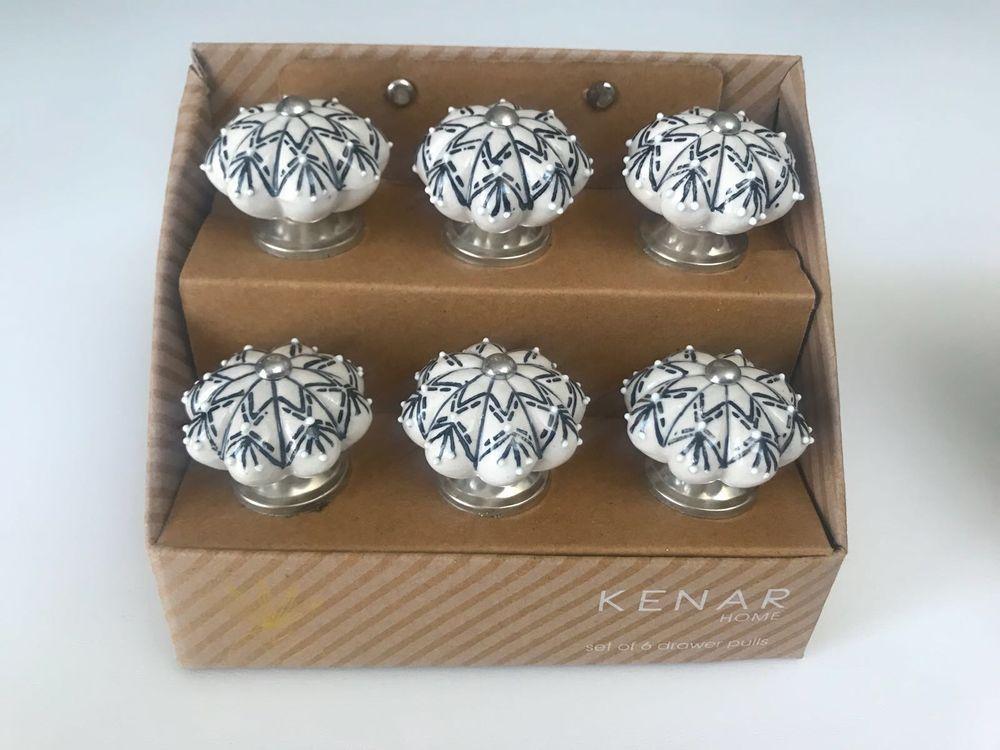 Kenar Home Set Of 6 Drawer Pulls Black White Kenarhome