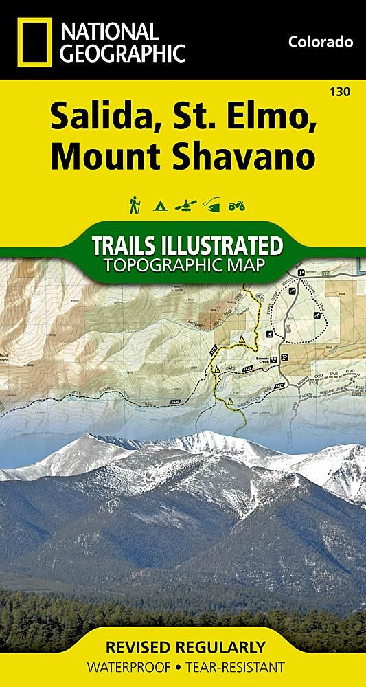 Salida St Elmo and Mount Shavano Colorado Map 130 by National