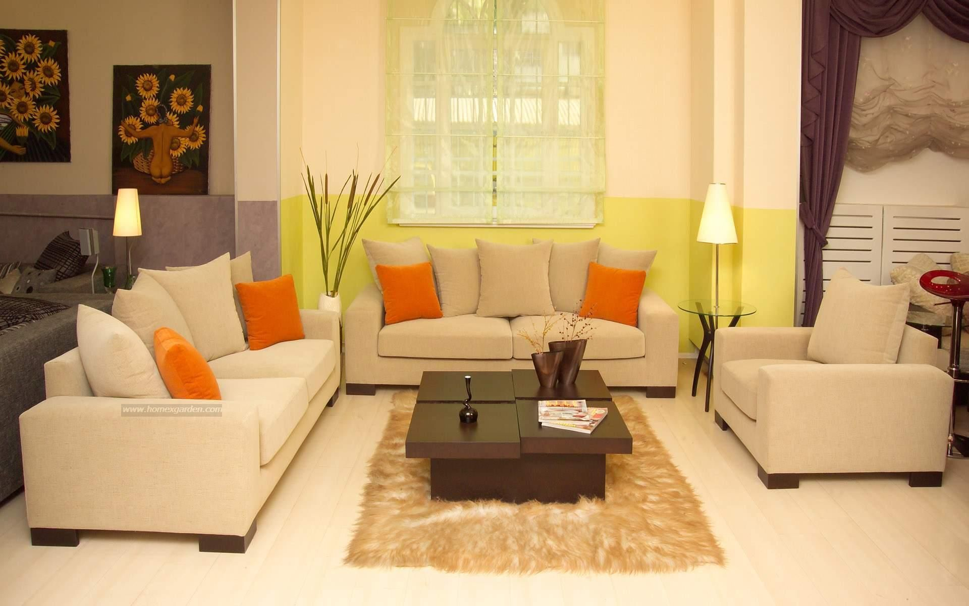 Serene Living Room Decorated with Cream Wall Paint Color and Single ...