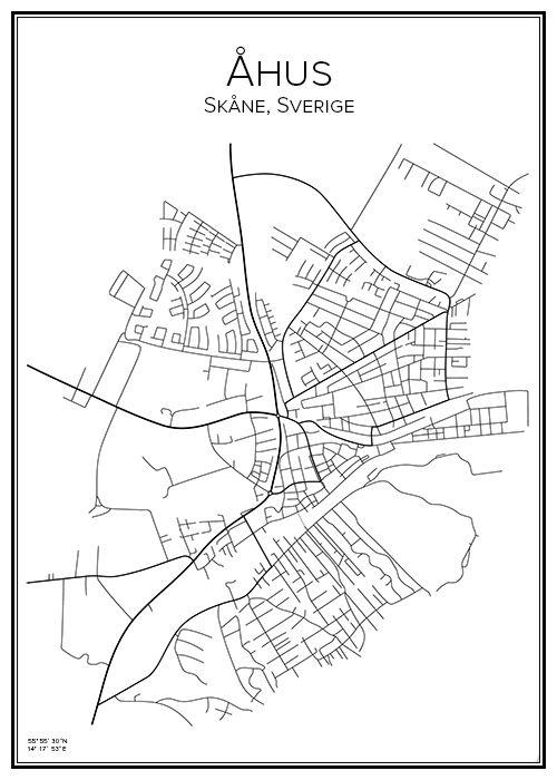 Karta Skane Tavla.Ahus City Prints Map Poster Och City