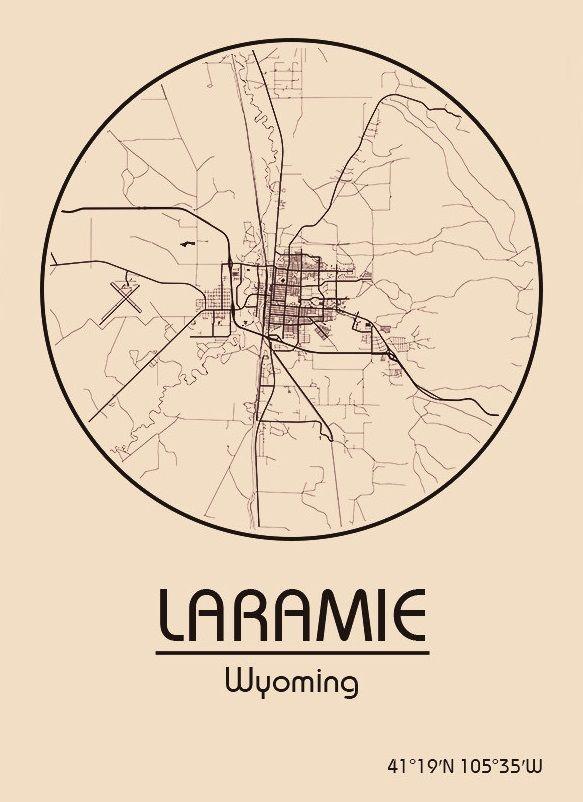 Karte Map Laramie Wyoming Vereinigte Staaten von Amerika