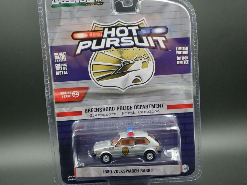 Greenlight Hot Pursuit 1980 Volkswagen Rabbit Greensboro North Carolina Patrol