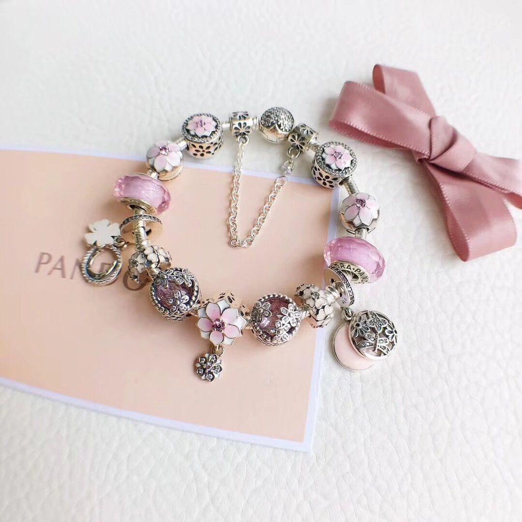 Pandora Magnolia Flower Charm Bracelet Pink Charmsilvers