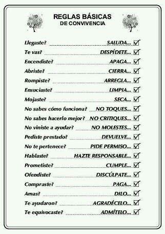 Reglas Reglas Basicas De Convivencia Reglas Familiares Frases