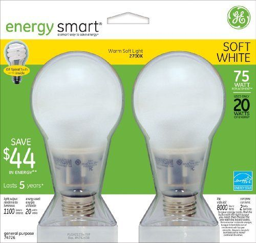 GE 74726 20 Watt Energy Smart Covered Glass CFL Light Bulbs, 75 Watt  Equivalent, 2 Pack By General Electric. $29.10. From The Manufacturer GE  Lighting 74726 ...