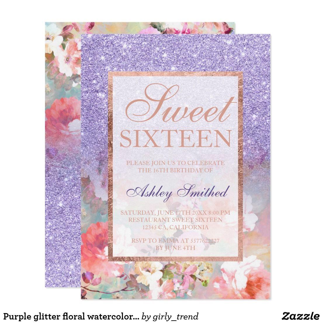 Purple Glitter Floral Watercolor Sweet 16 Card Purple Glitter