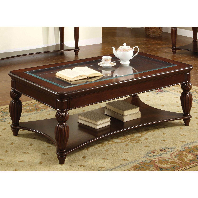 Furniture of America Morgan Beveled Glass Coffee Table Dark Cherry