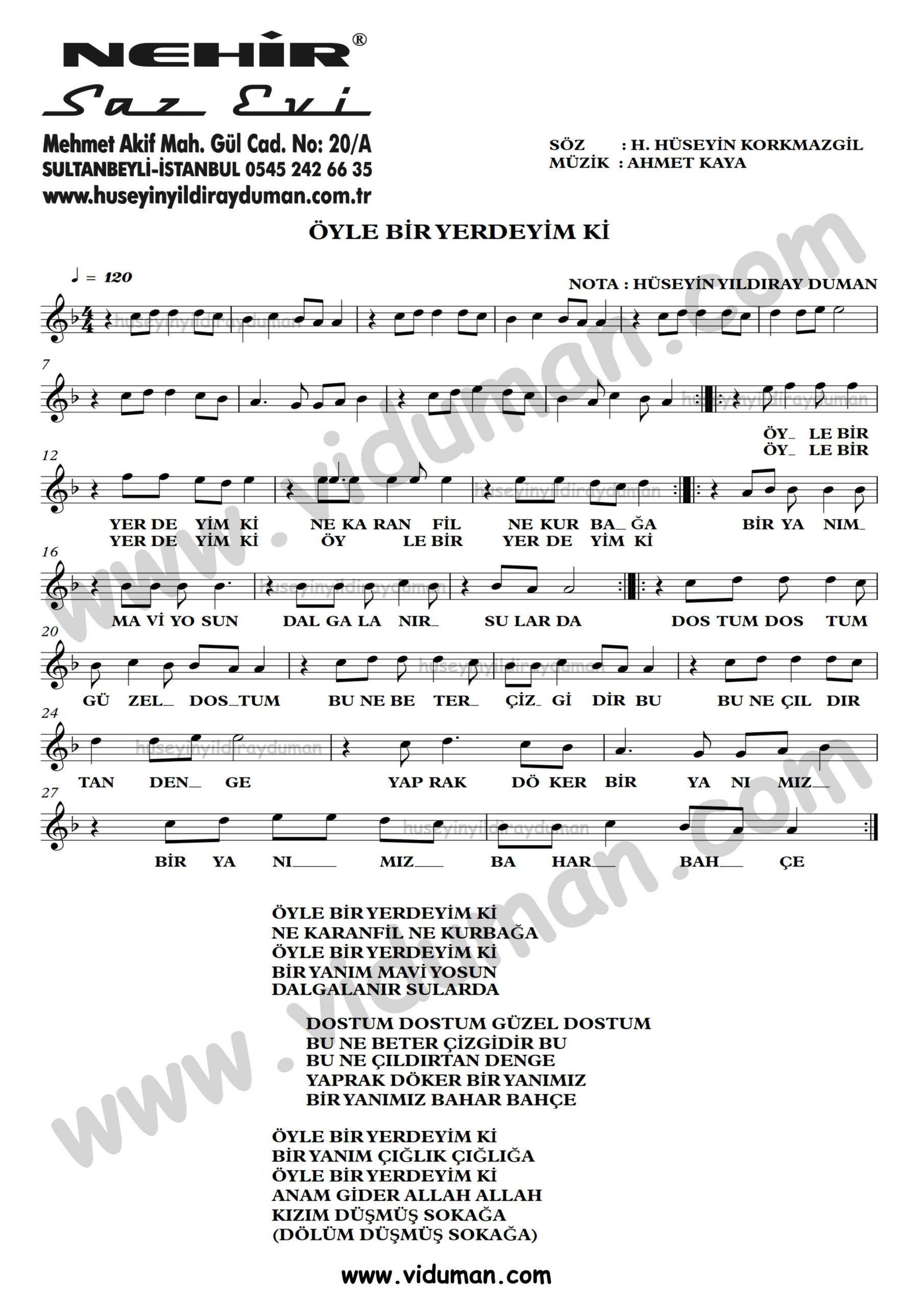 Oyle Bir Yerdeyim Ki Ahmet Kaya Nota Baglama Saz Turku Notalari Muzik Notalari Muzik Yerler
