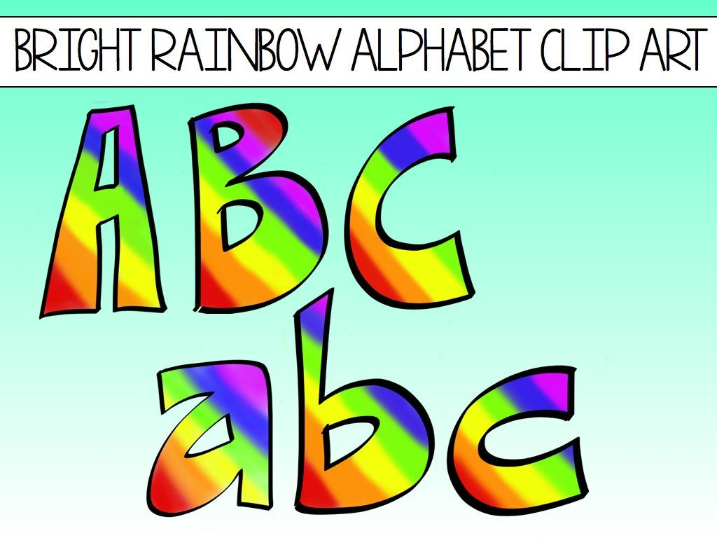 Alphabet Block Letters Clip Art Rainbows