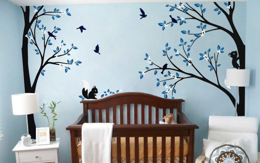 Contemporary Tree Wall Decal Nursery Wall Decoration Tree Wall Sticker Corner Tree decal Set of Two trees Model - baby room decals Ideas