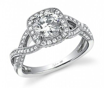 Twisted diamond band with halo setting wedding engagement ring from Sylvie.