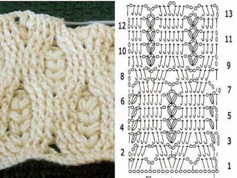 Punto trenza con diagrama | Mi crochet | Pinterest | Puntos
