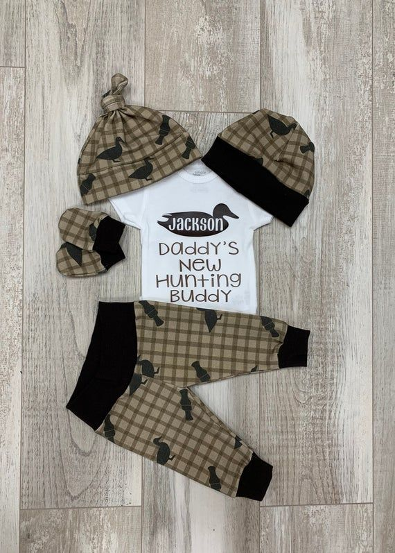 Photo of Boys Going Home Outfit, Duck Hunting, Daddy's Hunting Buddy Personalized Baby Boy Outfit,Baby Shower Gift, Baby Boy Layette Hat Set