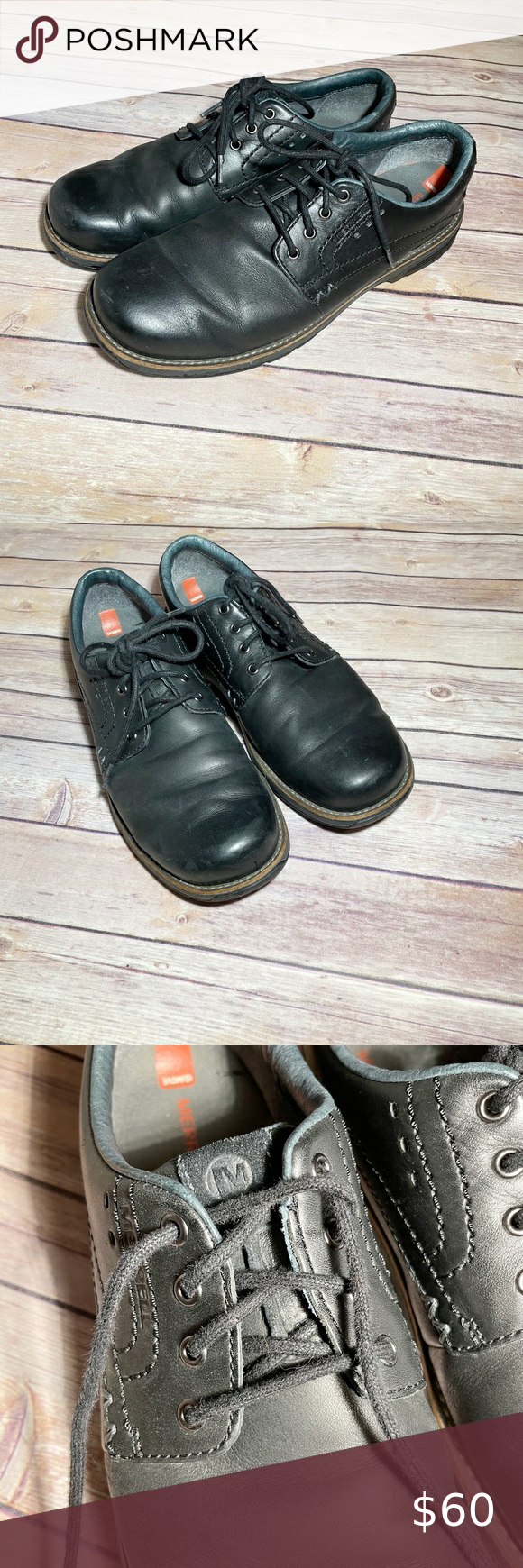 Men S Merrell Black Dress Shoes Leather Slip On Shoes Leather Shoe Laces Black Leather Shoes [ 1740 x 580 Pixel ]