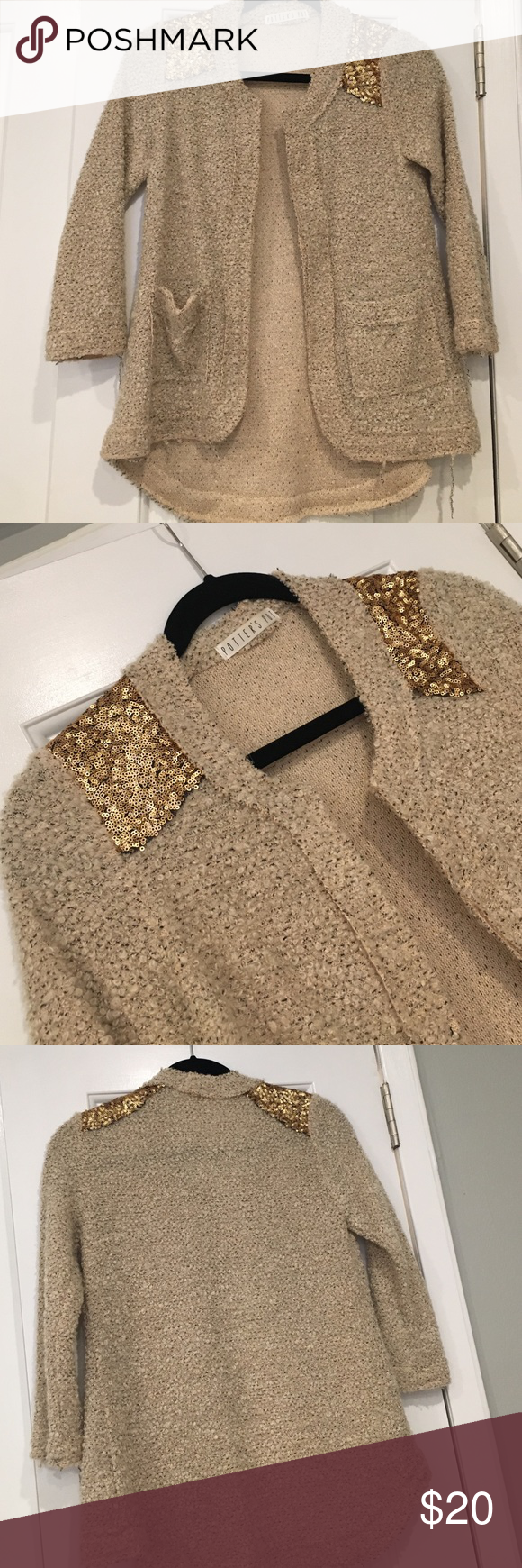 Cozy beige sweater with gold sequin accent Cozy beige sweater with gold sequin accent at shoulders never worn Sweaters Cardigans